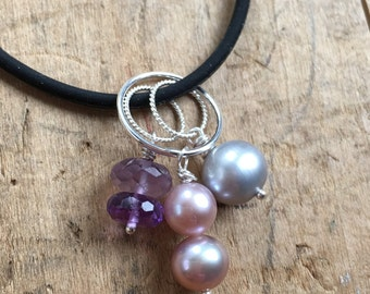 Charm pendant, charm cluster necklace,create your own, interchangeable charms,gem charms, Pearl charms,