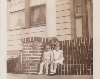 Boy and Girl on the Front Steps - Vintage Photograph