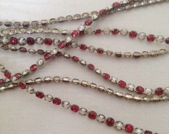 antique red rhinestone and pearl dainty trim circus trim tiny trim 1920's 1940's