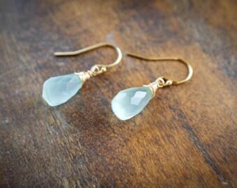 Blue Chalcedony Wire Wrapped Earrings, Rose Gold or Gold filled Teardrop Gemstone Earrings