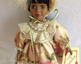 8 in African Porcelain Petite Doll  REDUCED