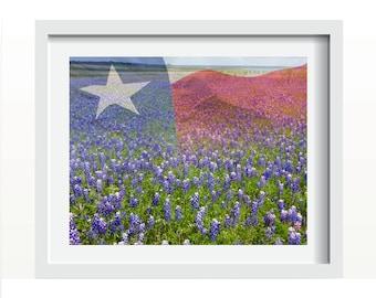 Texas Bluebonnets and Texas Flag Wall Art Home Decor Print