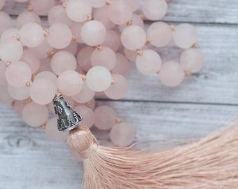 Summer tassel necklace / Rose quartz tassel necklace / Long pink tassel necklace /  Hand knotted quartz necklace