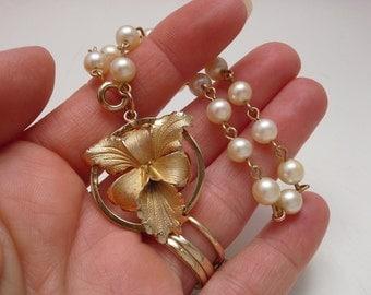 Flower Bracelet, Vintage Gold Filled, Pearl Charm Bracelet, Gold Filled Charm, Flower Charm, Iris Bracelet, Orchid Bracelet, Pearl Bracelet