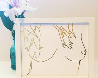 Breasts Print Hand Drawn | gold foil print, Free the Nipple art, feminine nudity, nudity art print, female nudity print, boobs wall art