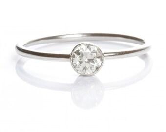 Antique  Diamond engagement ring | old European diamond | platinum | Stacking ring | Edwardian | Handmade | reclaimed | upcycled