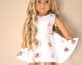 American Girl Doll dress Sail Boats