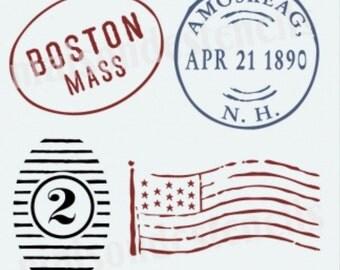 New England Postmark Stencil (12x12)