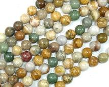 Ocean Jasper Beads, Round, 8 mm, 15.5 Inch, Full strand, Approx 51 beads, Hole 1 mm (330054012)