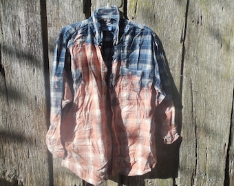 One of a kind custom bleached oversized blue pink flannel xl faded soft worn vintage 90s grunge hipster