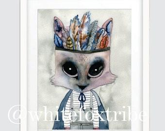 Cat Print, Tribal Print, Watercolour Print, Watercolour, Nursery Wall Art, Wall Art Prints, Prints, Nursery Decor, Nursery Wall Art,Giclee
