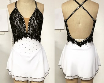 Adult XS black and white skating dress