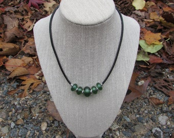 Green lampworked bead necklace, 18 inch black leather cord, handmade green lampworked beads, lamworked necklace, Gift for her, free shipping