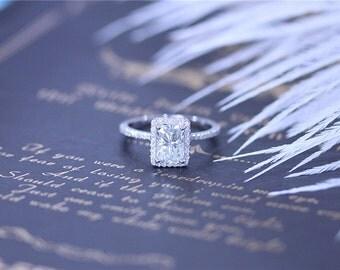 Forever Brilliant 5x7mm Charles & Colvard Brilliant Moissanite Ring 14K White Gold Radiant Cut Moissanite Engagement Ring Wedding Ring