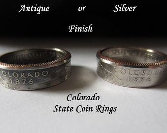 """Colorado State Quarter Handmade """"SEALED"""" Coin Ring """"FREE SHIPPING"""""""