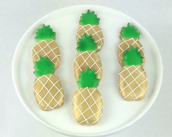 Pineapple Party Cookies - Gold and Green - Sugar Cookies - Small