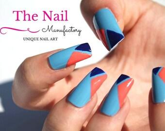 Blue-Coral Triangle False Nails - Nail Set - Handpainted Glossy Fake Nails - Square Shaped Nails - Handmade Accessory - Handpainted Nail Art