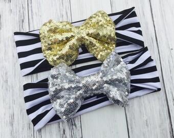 Stripe Sequin Headbands - Striped Headbands - Toddler Headbands - Baby Headbands - Sequin Bows - Sequin Headbands - Girls' Hair Accessories