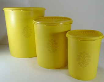 Vintage Tupperware Yellow Canister Set - Set of 3