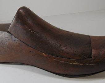 REDUCED - Vintage Wood Shoe Form with Full Metal Bottom