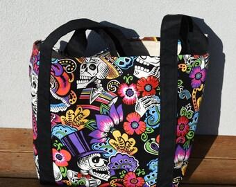 Dia De La Catrina Large Tote Bag Beach Bag