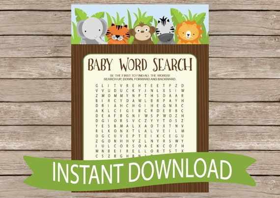 Safari Baby Shower Game Word Search Jungle Animals Zoo