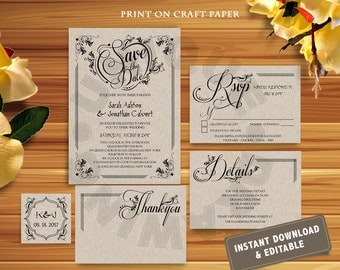 Instant DOWNLOAD Wedding Invitation Template,Wedding Invitation Printable,Rustic wedding Invitation set,DIY,Editable font,Color,size,2507