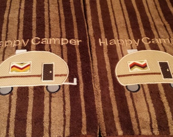 Happy Camper Bath Towels. Set of 2