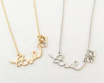Personalized Love Necklace - Script Love Necklace - Love Personalized Necklace - Initial Love Necklace - Personalized Heart Tags