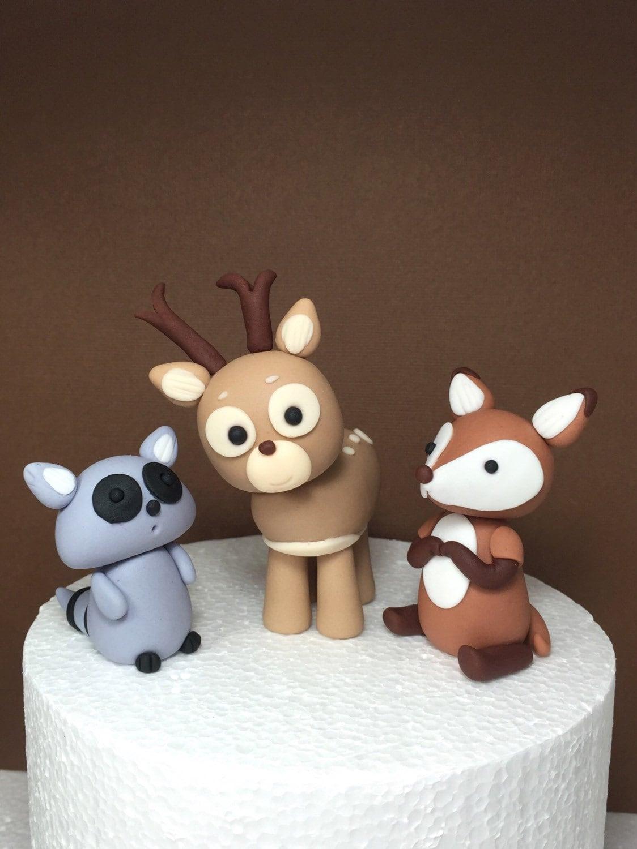 Woodland animals baby shower / birthday fondant cake topper.