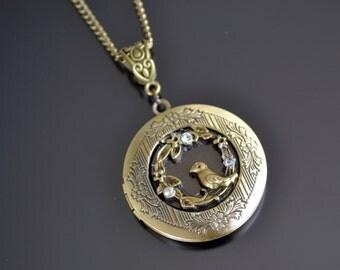 Locket Necklace, Round Locket, Bronze Locket, Bird Locket Necklace, Round Locket Necklace, Bird Jewelry (600)