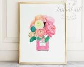 Chanel artwork PRINTABLE art,Chanel print,fashion print,watercolor art,pink flower print,flower art,flower illustration,fashion art,DOWNLOAD