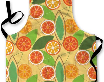 Oranges & Leaf Design Apron Kitchen bbq Cooking Painting Made In Yorkshire