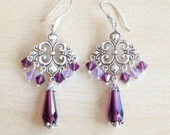 Silver and purple earrings, with Swarovski crystal and 925 sterling silver hooks