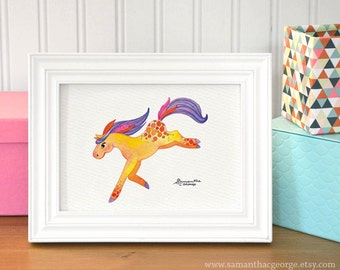 5x7 Print - Feather Pony Watercolor Print