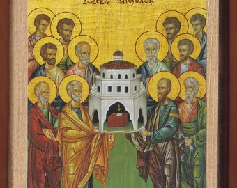 Synaxis Of The Holy Twelve Apostles.Christian orthodox icon. FREE SHIPPING