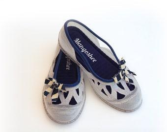 SALE, Summer Wedding Shoes, Girl Dance Shoes, Ballet Flats, Wedding Flats, Top Lace Shoes, Slip On Shoes, Bridal Bow Shoes, Pump Shoes