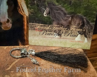 Handmade Horsehair Tassel Key Ring with Silver Crystals and Beads