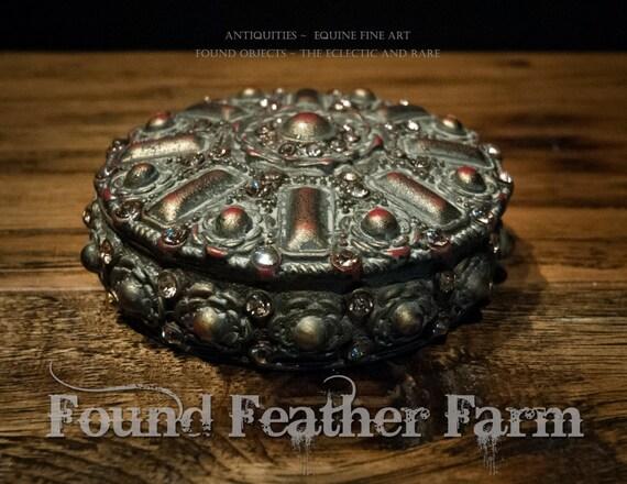 Round Jeweled Metal Vintage Cache Box