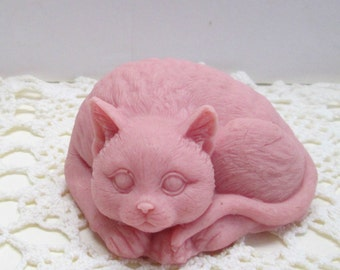 Pink Kitty CAT soap, or your choice of color and scent, Kids soap,animal soap, novelty soap, fancy soap,party favor, gender reveal,etc