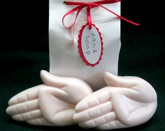 HAND SOAP- two hand shaped soaps in a plain white wrapper- unique gift for anyone,decorative soap, fancy soap, kids soap, fun party favors