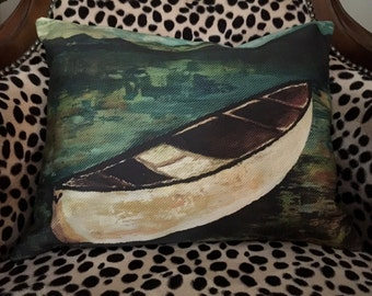Custom pillow cover - PAINTED CANOE by the LAKE