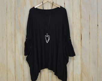 New Ladies COTTON Oversized Floaty Top Tunic Quirky Lagenlook Loose Quality New Plus Size UK 18 - 28/US 16 - 26 (A1)