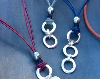 Leather Necklace with Metal Linking Rings