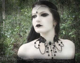 "Black Gothic Necklace ""Bella Morte"" Beaded Choker Black Rose Elegant Necklace"