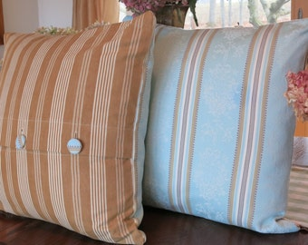Stunning Pair of Antique French Ticking  Pillows