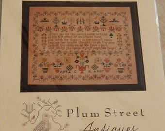 1837 Crown Sampler by Plum Street Antiques  Reproduction Sampler