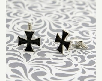 ON SALE Cross Black Iron Cufflinks Biker Dad Religious