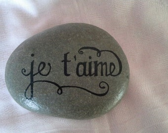 Message Pebble Je t'Aime - Hand Painted Natural Pebble