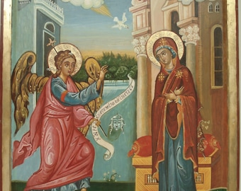 Annunciation, Byzantine icon,Orthodox icon,Handpainted